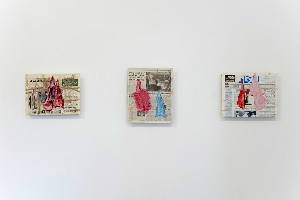 2- Elyas Alavi, from Hang series, 2013-2014, oil color on found newspapers, dimensions variable, photography credit:Emilio Fernandez