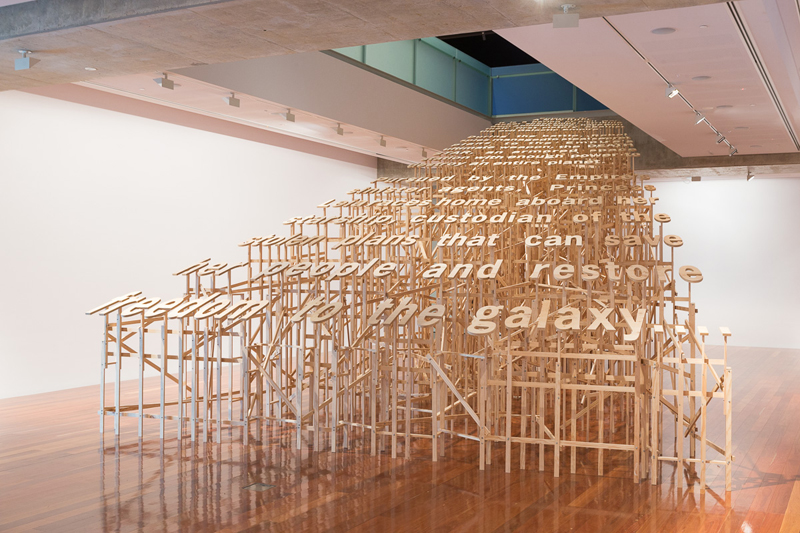 Slow crawl into infinity. 2014. Plywood, timber, fixings. 550x1100x700cm. Photograph by James Field