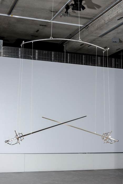 Untitled. 2015. Swords, steel, motor, microcontroller, fixings. Dimensions variable. Photograph by Sam Roberts
